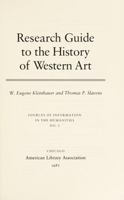 Cover of: Research guide to the history of Western art