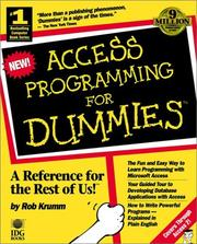 Cover of: Access programming for dummies