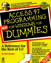 Cover of: Access 97 programming for Windows for dummies
