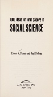 Cover of: 1000 ideas for term papers in social science