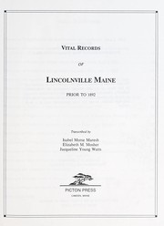 Cover of: Vital records of Lincolnville, Maine prior to 1892