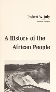 Cover of: History of the African People | Robert W. July