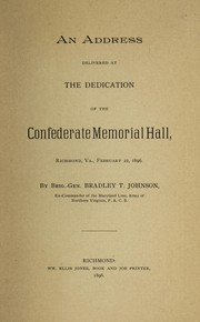 Cover of: An address delivered at the dedication of the Confederate Memorial Hall, Richmond, Va., February 22, 1896