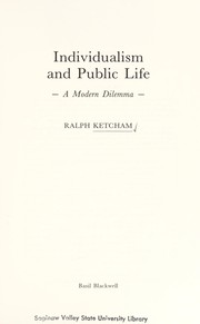 Cover of: Individualism and public life | Ralph Ketcham