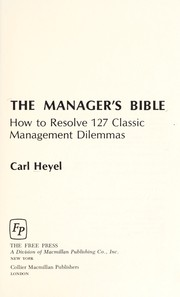 Cover of: The manager