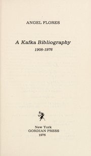 Cover of: A Kafka bibliography, 1908-1976