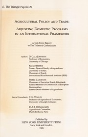 Cover of: Agricultural policy and trade