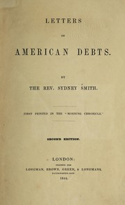 Cover of: Letters on American debts