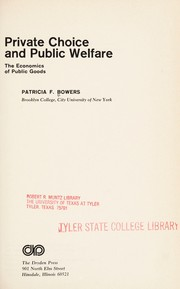 Cover of: Private choice and public welfare