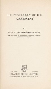 Cover of: The psychology of the adolescent