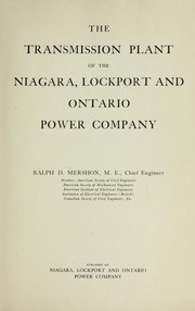 Cover of: The transmission plant of the Niagara, Lockport, and Ontario Power Company