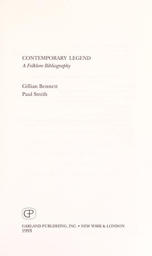 Contemporary legend by Gillian Bennett