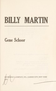 Cover of: Billy Martin