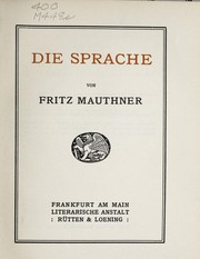 Cover of: Die Sprache