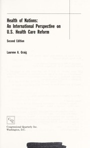 Cover of: Health of nations | Laurene A. Graig