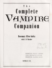 Cover of: The complete vampire companion