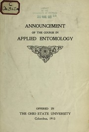 Cover of: Announcement of the course in applied entomology