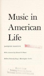 Cover of: Music in American life