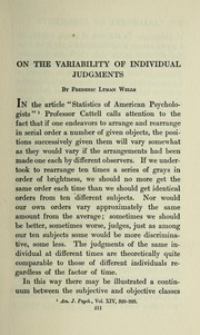 Cover of: On the variability of individual judgments | Frederic Lyman Wells