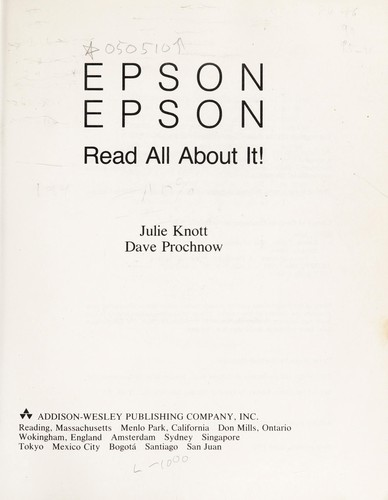 Epson, Epson, read all about it! by Julie Knott