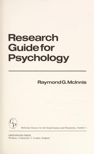 Research guide for psychology by RaymondG McInnis