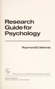 Cover of: Research guide for psychology | RaymondG McInnis