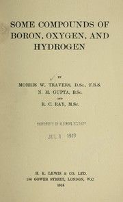 Cover of: Some compounds of boron, oxygen, and hydrogen