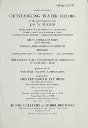 Cover of: Outstanding water colors by J.M.W. Turner | Kende Galleries at Gimbel Brothers