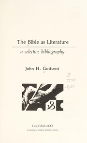Cover of: The Bible as literature