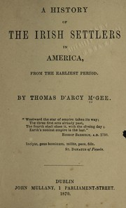 Cover of: A history of the Irish settlers in North America