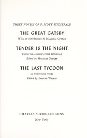 Cover of: Three novels: The great Gatsby