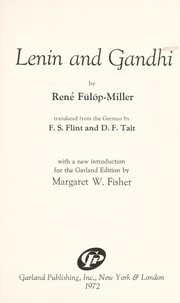 Cover of: Lenin and Gandhi. | René Fülöp-Miller