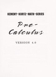 Cover of: Pre-calculus Version 3.0 (The Kemeny/Kurtz Math Series) |