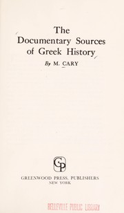 Cover of: The documentary sources of Greek history