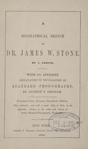 Cover of: A biographical sketch of Dr. James W. Stone |