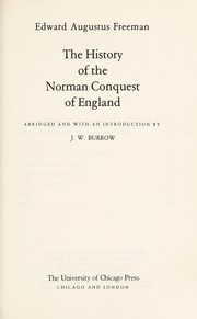 Cover of: The history of the Norman conquest of England | Edward Augustus Freeman