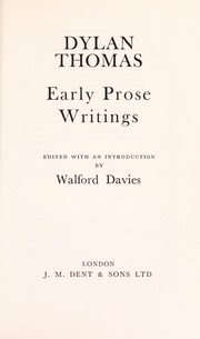 Cover of: Early prose writings