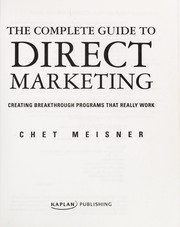 Cover of: The complete guide to direct marketing | Chet Meisner
