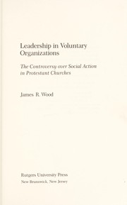 Cover of: Leadership in voluntary organizations