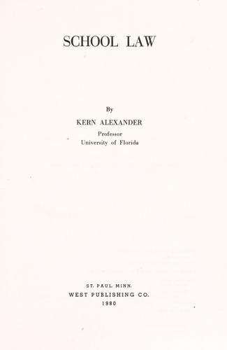 School law by Kern Alexander