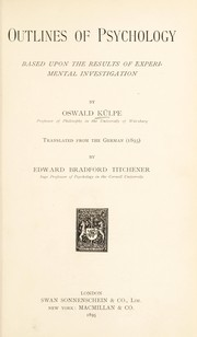 Cover of: Outlines of psychology | Oswald KГјlpe