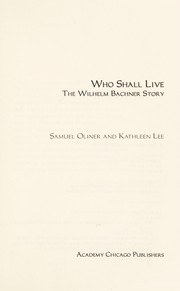 Cover of: Who shall live