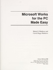 Cover of: Microsoft Works for the PC made easy
