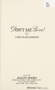 Cover of: Don't Say Love