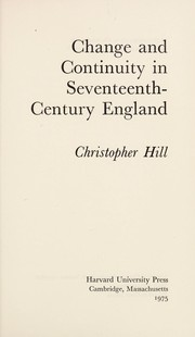 Cover of: Change and continuity in seventeenth-century England