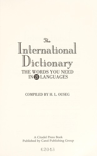 The international dictionary by H. L. Ouseg