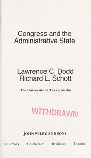 Cover of: Congress and the Administrative State