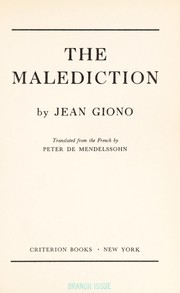 Cover of: The malediction. | Jean Giono