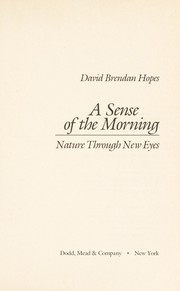 Cover of: A sense of the morning