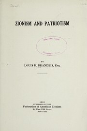 Cover of: Zionism and patriotism